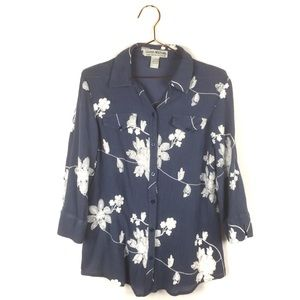 Lauren Michelle L Large Shirt Blue Floral